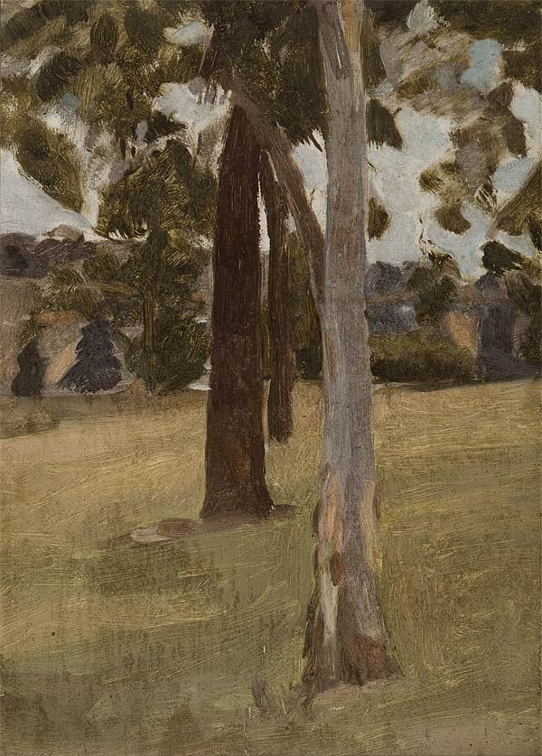 Max Meldrum Australia, 1875 - 1955 The three trees c 1917 oil on board 35.5 x 25.5 cm Private Collection