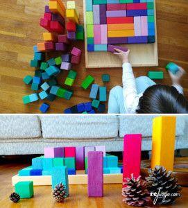 matemáticas para niños con bloques de madera
