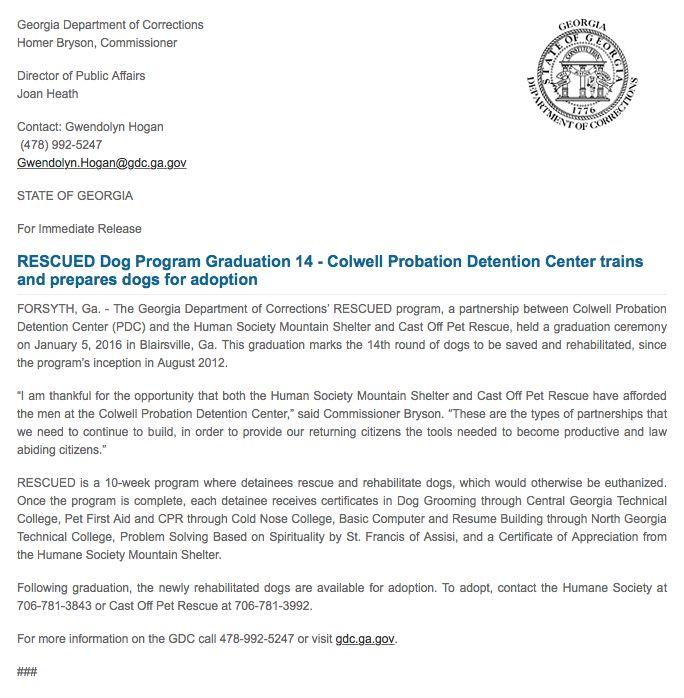 RESCUED Dog Program Graduation 14 - Colwell Probation Detention - graduation program
