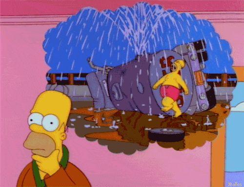 Homero Simpson, bailando bajo una lluvia de Cerveza
