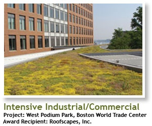2008 Winner, Intensive Industrial/ Commercial: West Podium Park, Boston World Trade Center, Boston, MA, Recipient: Roofscapes, INC. | #architecture #ecotecture #green #design #eco #sustainable #sustainability #gardening #garden #livingwall #greenroof #agriculture