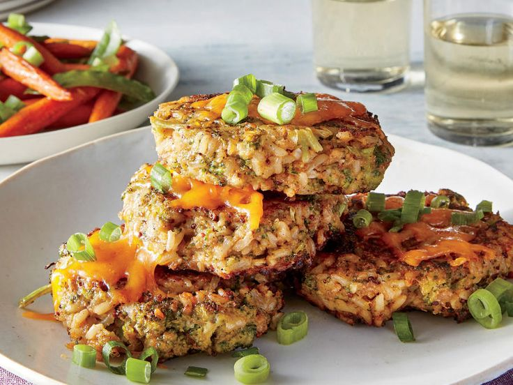 Time: 40 minutes  Hands-Free: Vegetable cakes are usually crisped in a skillet on the stove, but we let a hot oven do the work instead to keep cooking quick and hands-free.  Serve with Sweet-and-Spicy Carrots and PeasView Recipe: Broccoli, Cheddar, and Brown Rice Cakes