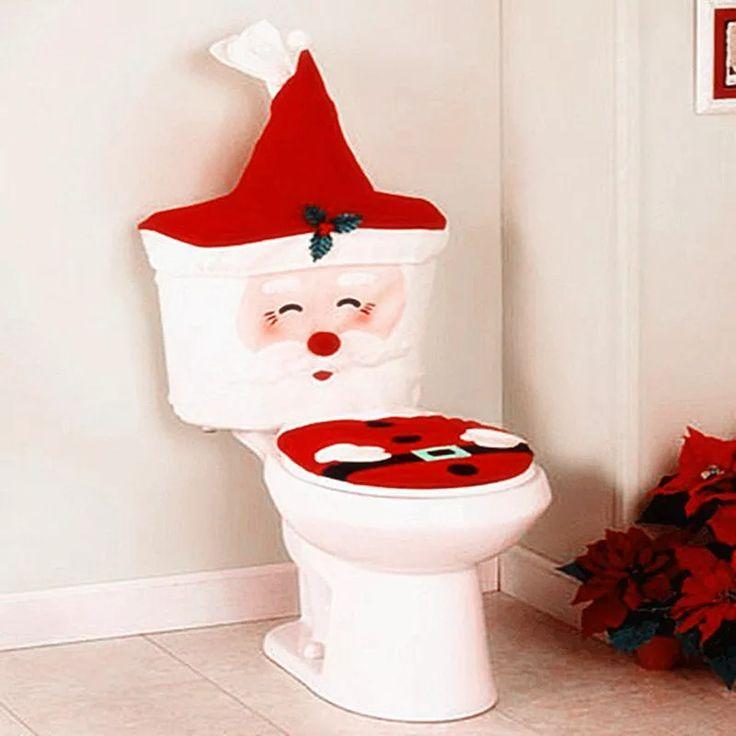 Ano novo Natal Papai Noel Tampa de Assento Sanitário Tapete Banheiro Decorações de Natal Para Casa  – Árvore de natal