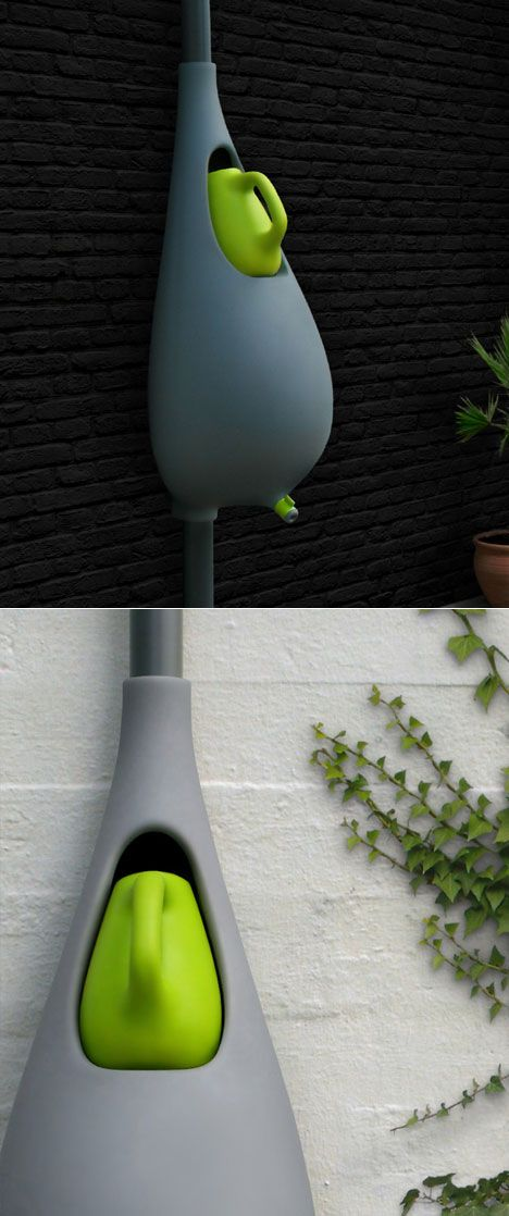 Rain-collection system with integrated plant-watering bottle. This option is miles better than the mosquito breeding ground garbage can my dad would use.