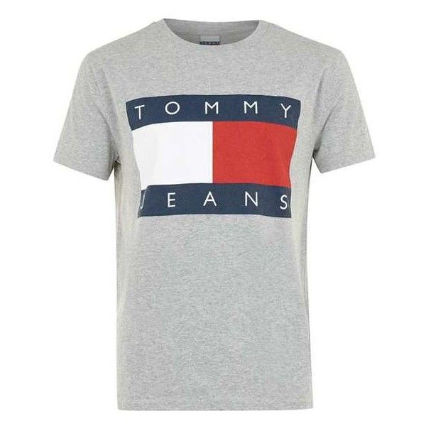 Tommy Jeans Grey Logo T-shirt ($16) ❤ liked on Polyvore featuring tops, t-shirts, gray top, logo tops, tommy hilfiger tops, grey tee and logo tees