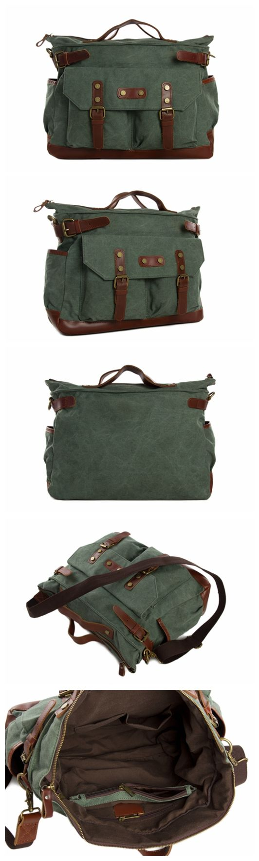 Canvas Leather Briefcase Messenger Bag, Waxed Canvas Laptop Bag Travel Briefcase