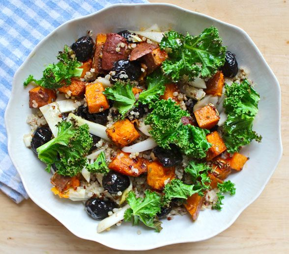Sweet Potato, Fennel & Olive Salad with Crispy Kale & Quinoa