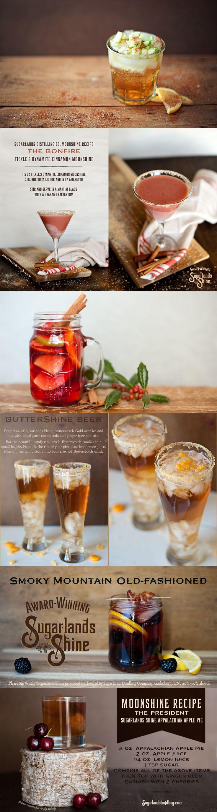 Moonshine Cocktail Recipes. Sugarlands Harvest. The Bonfire. Apple Shine…