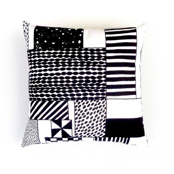 Marimekko Monochrome Cushion Cover. Graphic Geometric by OnHighat5
