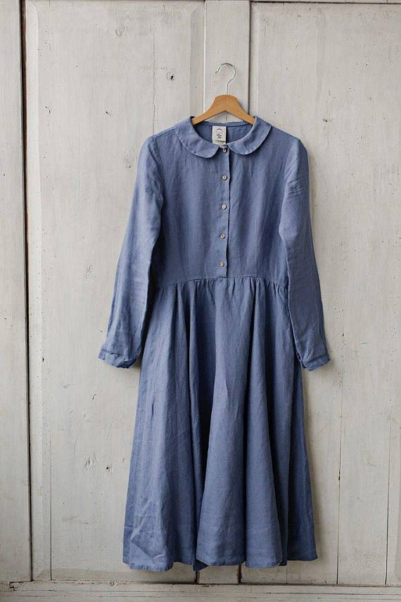 27e6c942164 Modest Linen Prairie Dress by Son de Flor on Etsy