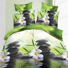 3d primavera biancheria da letto set 4 pz acqua dolce fiori stampa reattiva biancheria da letto copriletto comforter copertura lenzuolo federe B3085  (China (Mainland))