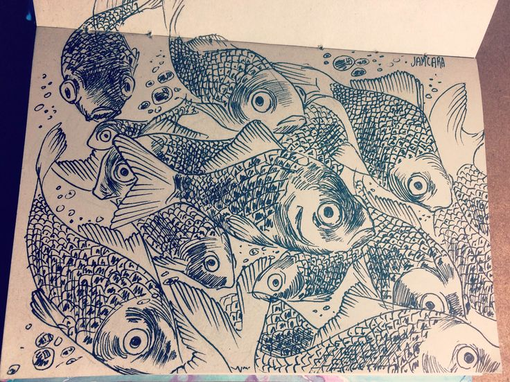 Peces by Jamcara  #sketch #sketchbook #fishes #lapicero #dibujo #draw #drawing #sea #mar #ink #illustration #art