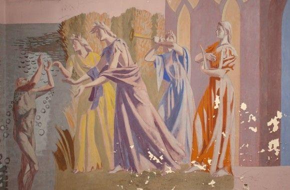 Feibusch's mural of Pilgrim's Progress (c.1944) hidden away in the crypt of Eastbourne's St Elizabeth's church.