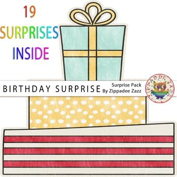As it is my birthday - I wanted to give everybody a present! :)This set includes:  19 Birthday Surprises.  High quality in .png format. Terms of Use (TOU) All free and paid graphics may be used for personal and/or commercial use, such as: Classroom Printables, Party Printables; Cards and Invitations; Classroom Crafts; Lesson Plans; Scrapbooking, Photography, Stickers; T-shirt Prints; Vinyl Cutting or Decals; Embroidery and more.