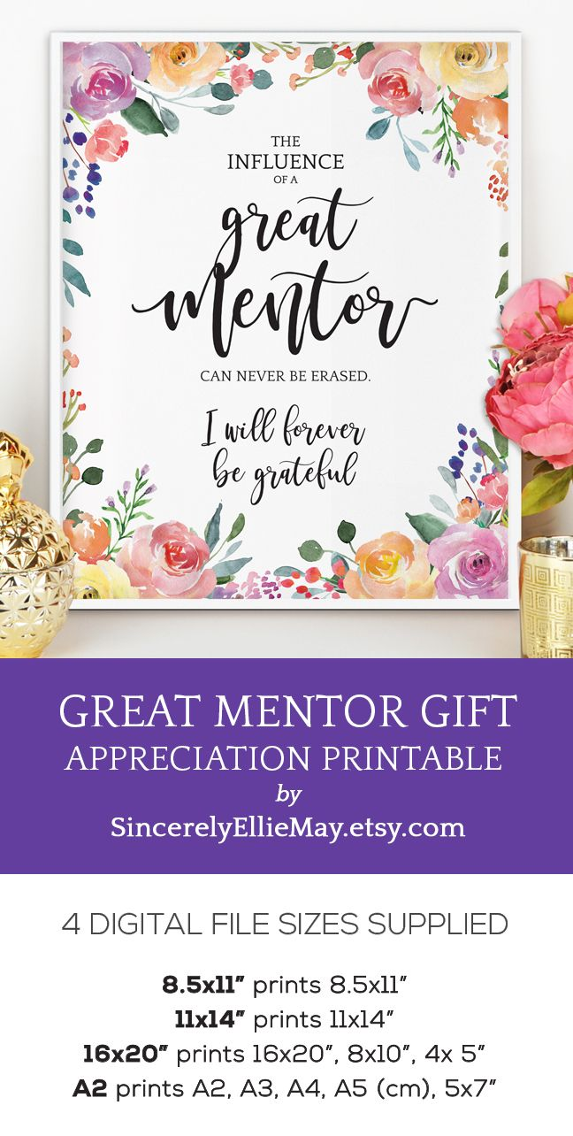 Mentor Gift For Women The Influence Of A Great Mentor Etsy Mentor Gift Appreciation Printable Appreciation Gifts