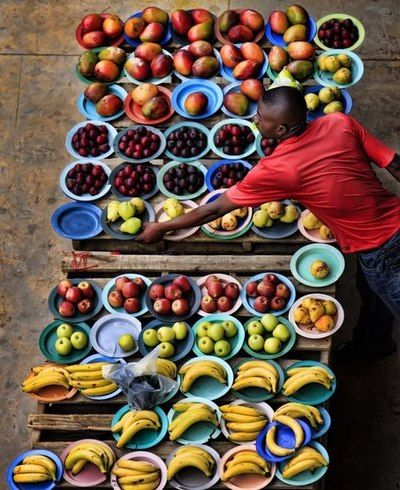 Soweto market, South Africa.  I love how the fruit makes this such a colorful picture.