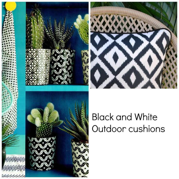 You can never go wrong with Black & White ........Indoor / Out cushions. available on Etsy.com Julie Alves Designs Family friendly covers , just wipe clean :-)