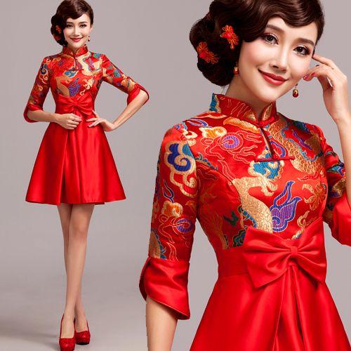 Material: Dragon pattern brocade Details: Chinese dragon inspired, mandarin collar, red bow, half sleeve Length: Mini short dress Sleeve: Cap sleeves