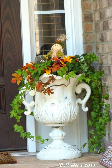 Plant Urn painted with Annie Sloan Chalk Paint -- this used to be black!  Love the look of chalk paint. - - Debbiedoo's