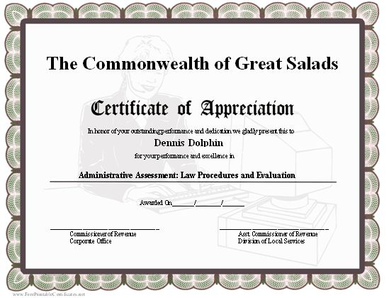 example of appreciation certificate