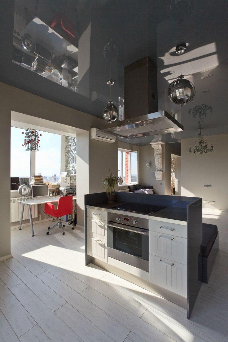 Объединение балкона с кухней: этапы перепланировки и 70 наиболее комфортных реализаций http://happymodern.ru/obedinenie-balkona-s-kuxnej/ Небольшой кабинет на балконе объединенный с кухней