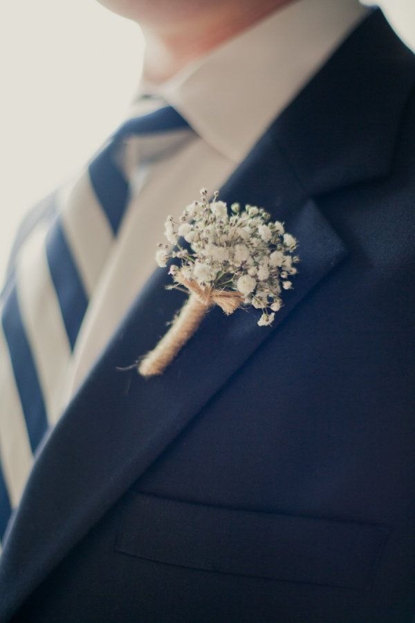 Baby's breath boutonniere with twine detail...rustic,elegant,touch of nautical: