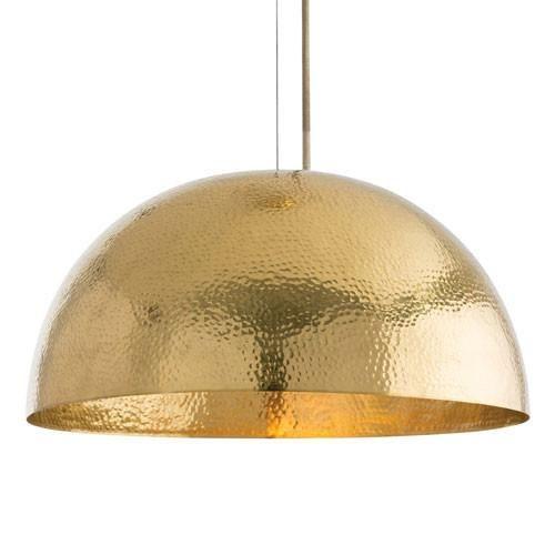Polished Brass Hammered Pendant