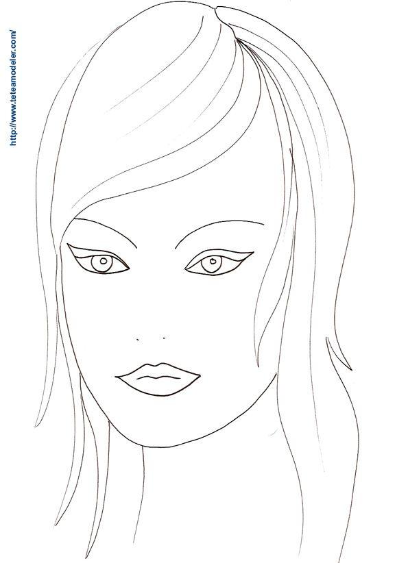 Dessin de visage de femme facile recherche google - Coloriage visage ...