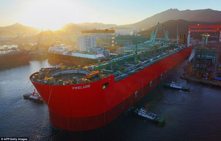 The 1,601ft (488m)-long floating liquefied natural gas platform cannot be described as a ship because it is unable to move under its own steam and must be towed