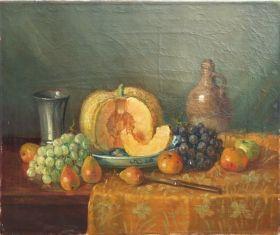 P.J.A. Wagemans ~ Stilleven met fruit en vazen
