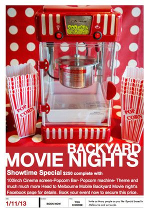 Showtime Special Complete with 100Inch Outdoor Cinema Screen-Popcorn Bar and your very own Popcorn machine plus much much more. Limited time so Book now ! - Melbourne's Mobile Backyard Movie nights, Cinema, Melbourne, VIC, 3000 - TrueLocal