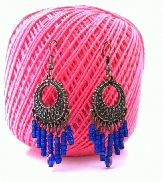 Gypsy earrings with blue beads -10% discount! http://www.alittlemarket.it/orecchini/it_gypsy_earrings_with_blue_beads_-8233207.html spedizioni gratuite verso l'Italia!