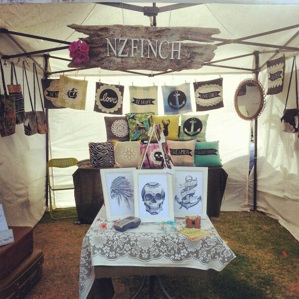 At The Little Big Market. Mount Maunganui. Cushions. Prints. Leather bags. Thrifted fabrics.