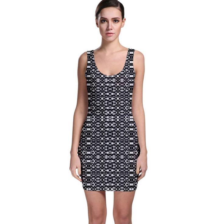 Black+and+White+Geometric+Tribal+Pattern+Bodycon+Dresses