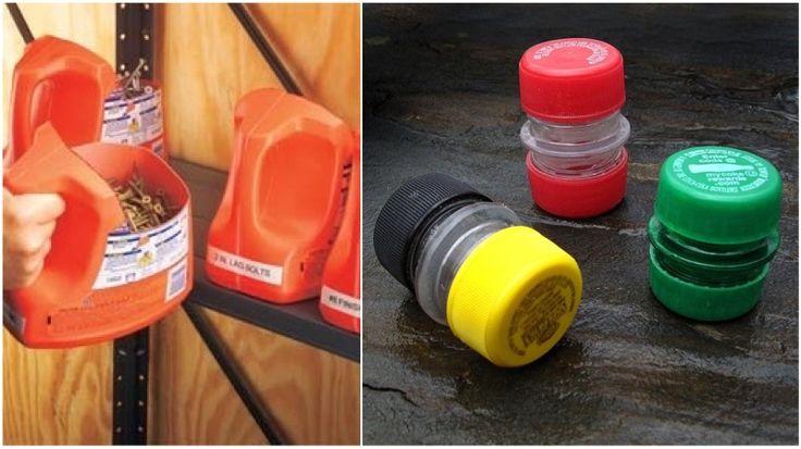 Organizando a garagem com embalagens reutilizadas de plástico, ou tampinhas de garrafa pet para um porta comprimidos.