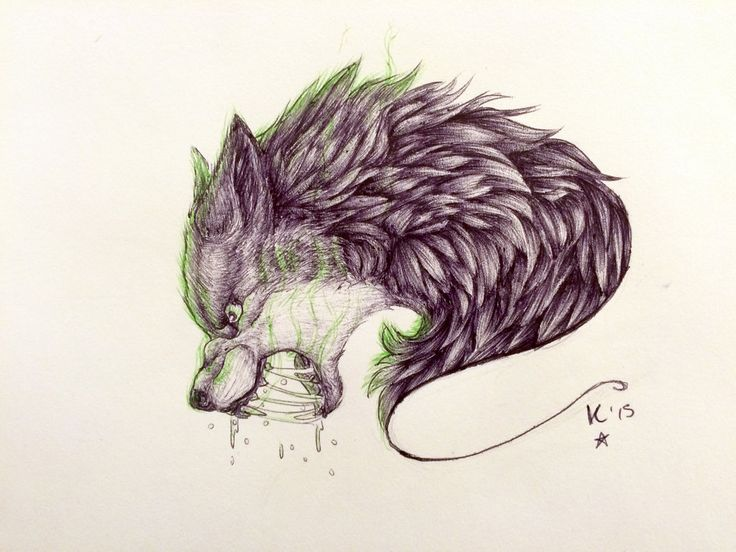 Lineart Wolf Tattoo : Angry wolf tattoo by violetsunset viantart on