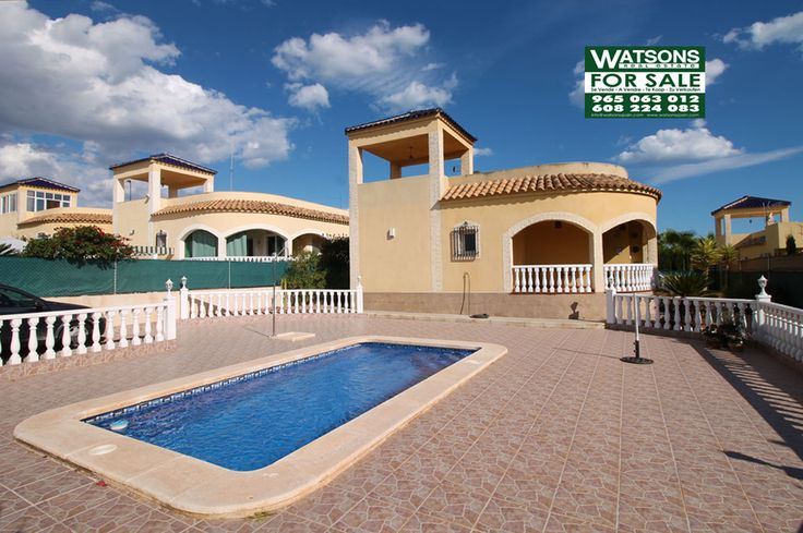 "Property Ref: W4181.West facing detached property, model ""Erika"" with an 6x3 private pool and a 500m2 plot for sale in Urb. La Marina.This fully furnished property is in a very good condition and offers porch,3 bedrooms, 2 bathrooms (1 en-suite), walk-in wardrobe in Bed 1, covered terrace,living/dining room, kitchen, open utility room, sun solarium, driveway with carport,air conditioning,fitted wardrobes, aluminium windows, fully paved garden. An internal viewing is recommended. Price…"