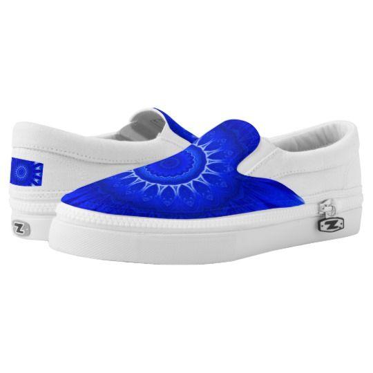 Dark Blue Mandala Custom Zipz Slip On Shoes by www.zazzle.com/htgraphicdesigner* #zazzle #gift #giftidea #shoes #mandala #kaleidoscope #abstract #summer #blue
