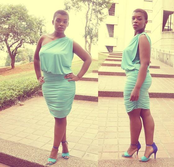 Aqua One Armed Dress, Heeled Sandals
