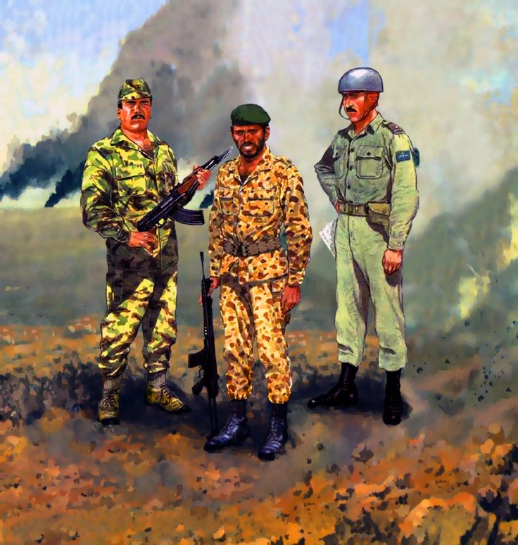 Iraqi Special Forces Trooper, Iranian Special Forces Trooper and Jordanian Paratroop Lieutenant Colonel