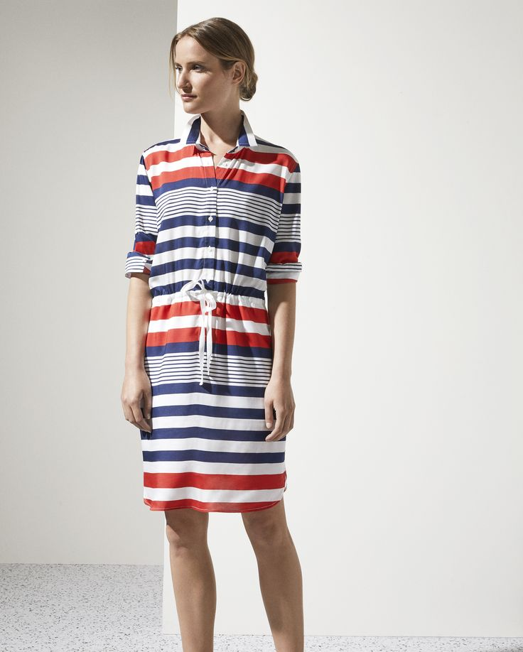 The Variegated Stripe Shirt Dress | A graphic, colourful update on a classic with flashes of vivid red against rich navy. Designed in drapey modal, wear this dress on weekends with a navy slide, then switch to a simple heel for the office.