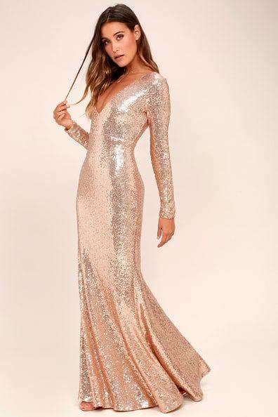 Capture the Moon Rose Gold Long Sleeve Sequin Maxi Dress  040410c2d