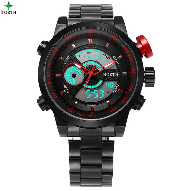 NORTH LED Digital Sport Watch Male Waterproof Multifunction Wristwatch 2017 Fashion Analog Round Stainless Steel Men Sport Watch
