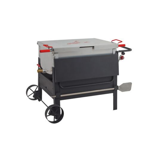 The Outdoor Gourmet Dual-Sack Crawfish Boiler features aluminum construction and oversize wheels