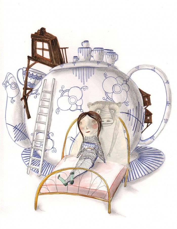 the teapot - watercolor and ink illustration by Signe Gabriel