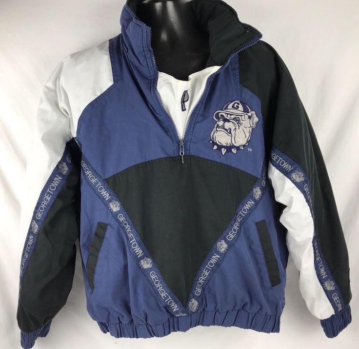Vintage Pro Player Georgetown Hoyas 1/2 Zip Jacket Coat Insulated Men's S #ProPlayer #GeorgetownHoyas