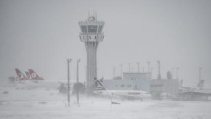 L'aéroport Ataturk international d'Istanbul sous la neige, le 7 janvier 2017