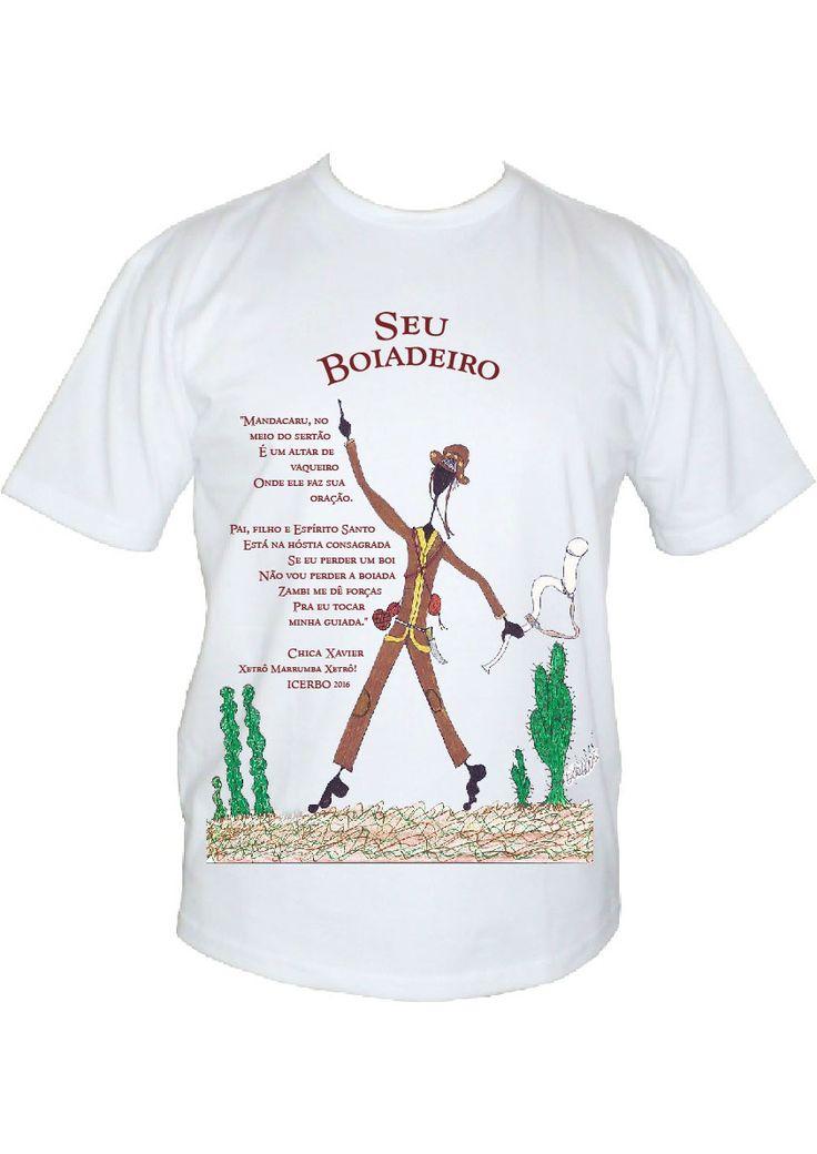 Camisa para festa de Seu Boiadeiro, com desenho de Bela d'Oxossi e ponto de Chica Xavier.  Feita com impressão digital em malha - 2016