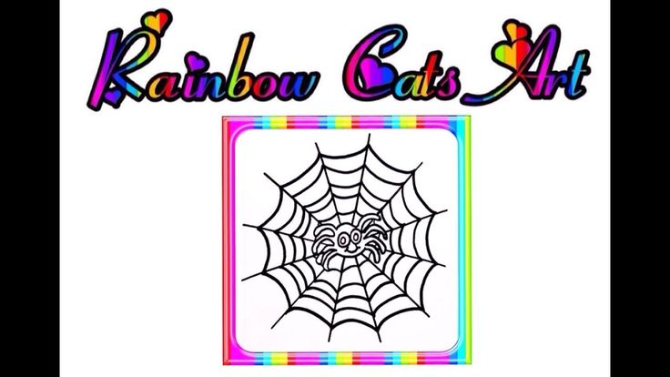 Kids Drawing Coloring pages owl spider spider web rainbow ...