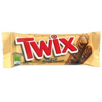 Twix is a candy bar packaged in pairs. It consists of a butter cookie center topped with caramel and coated in creamy milk chocolate.